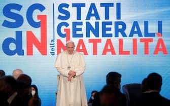 Papa Francesco interviene agli Stati generali della natalità all'Auditorium della Conciliazione a Roma