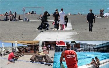 Gente su varie spiagge e in piscina