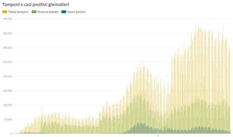 Il grafico che mostra casi e numero di tamponi giornalieri