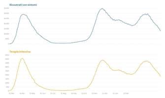 Il grafico che mostra l'andamento dei ricoveri e delle terapie intensive in Italia