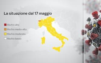 Una mappa dei colori delle regioni dal 17 maggio: Italia tutta gialla, solo Valle d'Aosta arancione