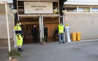 The vaccination hub in the Fiera of Cagliari, Italy, 01April  2021.  ANSA/FABIO MURRU