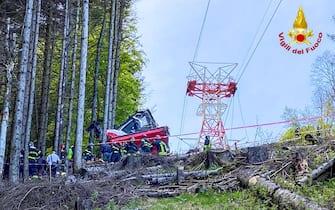 Crollo della funivia Mottarone, sul lago Maggiore. Stresa, Verbania, 23 maggio 2021 ANSA/JESSICA PASQUALON