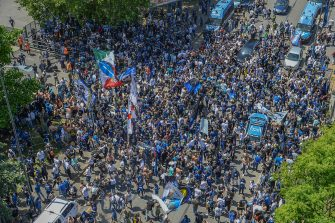 Inter supporters celebrate the victory of the Italian Championship in front of the Giuseppe Meazza stadium before the Serie A soccer match between FC Inter Milan and Udinese in Milan, Italy, 23 May 2021.  ANSA/ANDREA FASANI