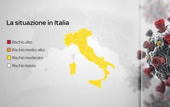 Grafiche coronavirus: la situazione del rischio in Italia