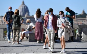 Tourists wearing protective face masks at the Pincio terrace in Villa Borghese Park, Rome, Italy, 08 October 2020. The Italian cabinet met to extend Italy's COVID-19 state of emergency until 31 January and approved a decree with new measures to combat the spread of the coronavirus.  ANSA / ETTORE FERRARI
