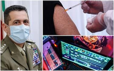 A sinistra il commissario Figliuolo, in alto una vaccinazione, in basso una postazione da dj in discoteca