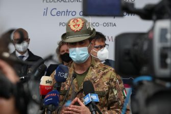 """The Emergency Commissioner for Covid-19, Francesco Figliuolo, during the inauguration of the vaccination hub at the water pole in Rome, Italy, 03 May 2021. We are considering extending Astrazeneca to the """"age group under the age of 60,"""" said Figliuolo.  ANSA/EMANUELE VALERI"""