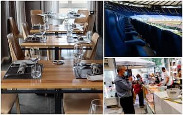 Una tavola apparecchiata in un ristorante, uno stadio e un bar