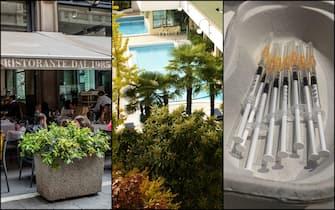 Persone al ristorante, una piscina termale e alcune siringhe per i vaccini