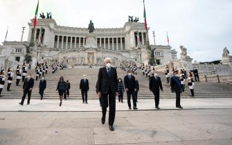 epa09242559 A handout photo made available by the Chigi Palace Press Office shows Italian President Sergio Mattarella (C) as he attends the wreath-laying ceremony at the Altar of the Fatherland as part of celebrations marking the 75th Republic Day, in Rome, Italy, 02 June 2021. The anniversary marks the proclamation of the Italian Republic in 1946.  EPA/FILIPPO ATTILI/ CHIGI PALACE/ HANDOUT  HANDOUT EDITORIAL USE ONLY/NO SALES