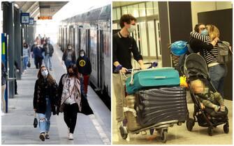 Passeggeri in stazione e in aeroporto