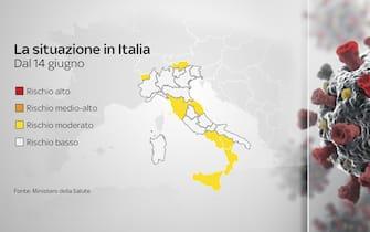 La mappa dell'Italia, tra Regioni in zona gialle e bianca