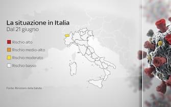 Cartina Italia con possibili colori dal 21 giugno