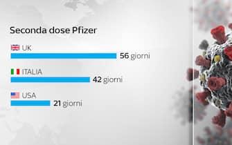 Grafiche coronavirus: la seconda dose Pfizer nei diversi Paesi