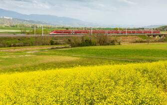 Un treno Frecciarossa di Trenitalia in viaggio tra le campagne italiane