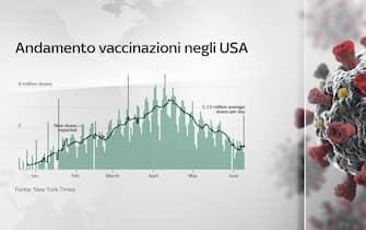 Grafico andamento vaccinazioni negli Usa