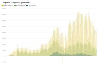 Grafiche coronavirus: tamponi e casi positivi giornalieri