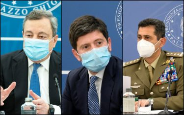 Mario Draghi, Roberto Speranza e Francesco Paolo Figliuolo