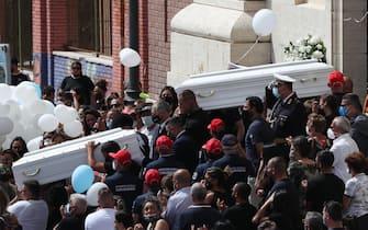 Funerali di Daniel e David Fusinato in corso alla chiesa Regina Pacis di Ostia. GIUGNO 2021, OSTIA, ROMA. ANSA/EMANUELE VALERI