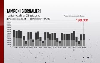 Grafiche coronavirus: i tamponi effettuati oggi sono 198.031