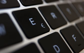 01 June 2021, Bavaria, Augsburg: A euro sign (M) can be seen on the keyboard of a laptop. Photo: Karl-Josef Hildenbrand/dpa (Photo by Karl-Josef Hildenbrand/picture alliance via Getty Images)