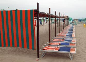 Riccione lettini sulla spiaggia