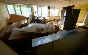 19 July 2021, Rhineland-Palatinate, Sinzig: The workroom of the Barbarossa-Realschule is completely destroyed by the flood. Photo: Thomas Frey/dpa (Photo by Thomas Frey/picture alliance via Getty Images)
