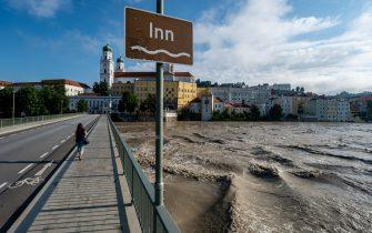 19 July 2021, Bavaria, Passau: The Inn is in flood. The situation in the flooded areas in the south and east of Bavaria has eased somewhat. Photo: Armin Weigel/dpa (Photo by Armin Weigel/picture alliance via Getty Images)