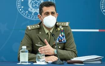 Il commissario straordinario per l'emergenza Covid-19 Francesco Paolo Figliuolo, durante una conferenza stampa a Palazzo Chigi