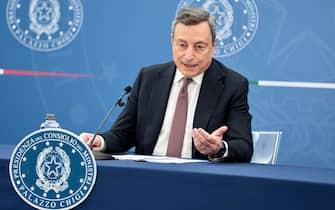 Il presidente del Consiglio Mario Draghi durante la conferenza stampa a Palazzo Chigi del 22 luglio 2021