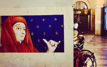 Padova, street artist Evyrein omaggia Giotto in piazza delle Erbe
