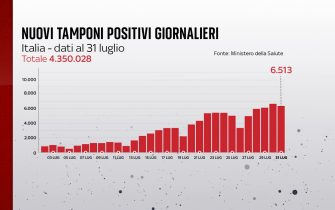 Secondo il bollettino del 31 luglio 2021 i nuovi positivi sono 6.513