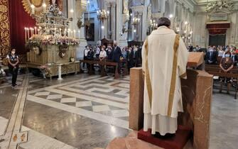 La messa di suffragio nella cattedrale di Palermo con la quale la Polizia  di Stato ha ricordato il giudice Paolo Borsellino e i cinque agenti della scorta uccisi in via D'Amelio 29 anni fa,19 luglio 2021. ANSA/UFFICIO STAMPA POLIZIA DI STATO