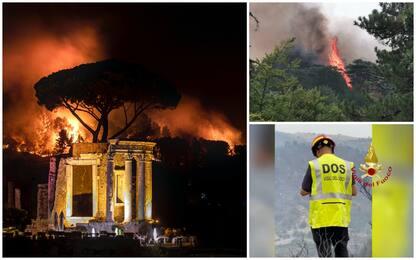 Incendi, nella notte fiamme a Tivoli. Ancora roghi al Sud. FOTO