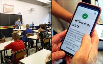 Un'insegnante con una mascherina anti-Covid durante una lezione a scuola e un green pass