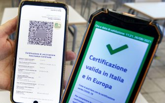 """The Green Pass vaccine passport is seen inside the Giulio Cesare high school in Rome, Italy, 26 August 2021. There has been a sharp rise in the number of teachers and other school staff who have been vaccinated against COVID-19, Italian Education Minister Patrizio Bianchi said Thursday. """"There has been a strong increase in the vaccinated in these days among school staff,"""" Bianchi said, adding that the vaccinated, with their Green Pass vaccine passports, would be allowed to teach while the unvaccinated would be suspended. ANSA/ MASSIMO PERCOSSI"""