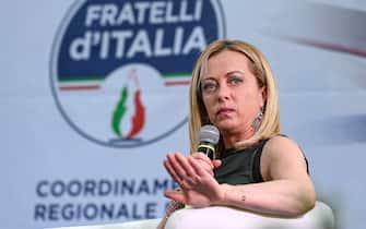 La leader di Fratelli dÕItalia Giorgia Meloni durante la presentazione del suo libro ÔIo sono GiorgiaÕ, Roma, 20 luglio 2021. ANSA/RICCARDO ANTIMIANI