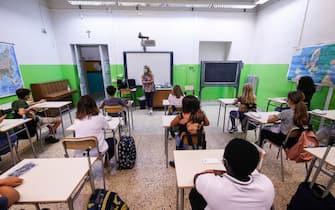 Inizio nuovo anno scolastico all  Istituto Comprensivo Parco della Vittoria sede Col di Lana, Roma, 14 Settembre 2020. ANSA/GIUSEPPE LAMI