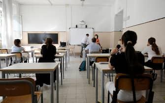 """Primo giorno degli esami di riparazione per gli studenti del Liceo """"Giulio Cesare"""" Roma 01 settembre 2021.ANSA/FABIO CIMAGLIA"""