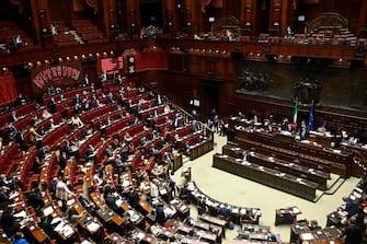 Il risultato del voto su un emendamento durante la discussione sul decreto Green Pass alla Camera dei Deputati, Roma, 8 settembre 2021. ANSA/RICCARDO ANTIMIANI