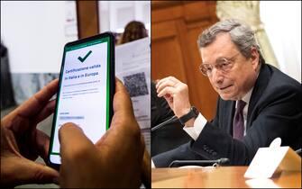 Controlli del green pass Covid su smartphone e il premier Mario Draghi