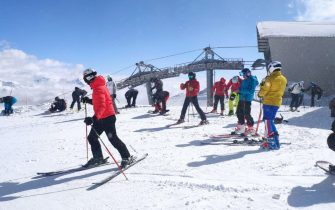 People ski on the Presena Glacier, in the Pontedilegno-Tonale area between Trentino and Lombardy, Italy, 22 May 2021. Today and tomorrow the plants will be open after closing due to Covid. ANSA/ MARTINA VALENTINI
