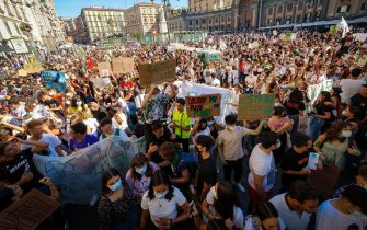 Protesters with signs and slogans during the demonstration Fridays for Future for the global climate strike in naples, Italy, 24 September? 2021. ANSA/CESARE ABBATE