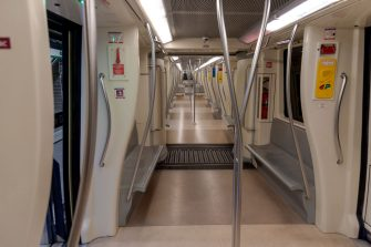 ROME, ITALY - MAY 12:  General train interior view on new subway station 'San Giovanni' part of the Line C of subway on May 12, 2018 in Rome, Italy. Artifacts from ancient Roman were found during the excavations for the new station, which lasted about three years. Excavations made it possible to explore more than 20 meters deep within a total area of almost 3,000 square meters. (Photo by Stefano Montesi - Corbis/Corbis via Getty Images)