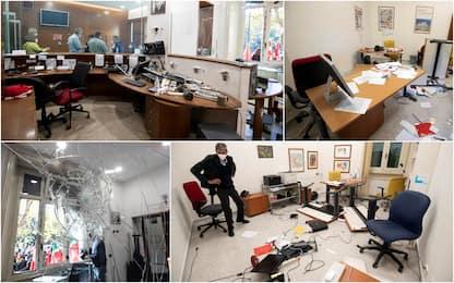 Cgil, le foto dei danni all'interno della sede di Roma dopo l'assalto