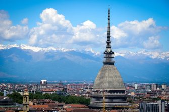 TURIN, ITALY - 2017/05/20: The major landmark building in Turin 'Mole Antonelliana' is pictured on a sunny day. The Mole appears on the reverse of the two-cent Italian euro coins and was the inspiration for the official emblem of the 2006 Winter Olympics. (Photo by Nicolò Campo/LightRocket via Getty Images)