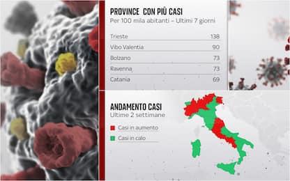 Covid, ecco le province con più casi in Italia negli ultimi giorni