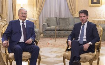 Italian premier Giuseppe Conte shakes hands with Libya Chief of Staff, Marshall Khalifa Haftar at Palazzo Chigi in Rome, Italy, 29 October 2018.ANSA/CHIGI PALACE PRESS OFFICE+++ ANSA PROVIDES ACCESS TO THIS HANDOUT PHOTO TO BE USED SOLELY TO ILLUSTRATE NEWS REPORTING OR COMMENTARY ON THE FACTS OR EVENTS DEPICTED IN THIS IMAGE; NO ARCHIVING; NO LICENSING +++