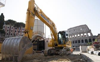 Il cantiere stazione Colosseo-Fori Imperiali della Metro C a Roma, 23 luglio 2020.   MAURIZIO BRAMBATTI/ANSA